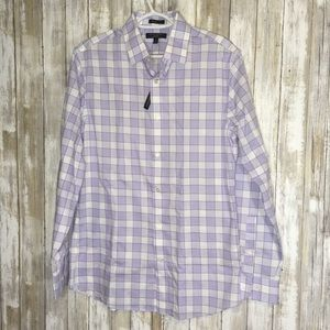 Banana Republic Grant Fit Purple Plaid Button Down